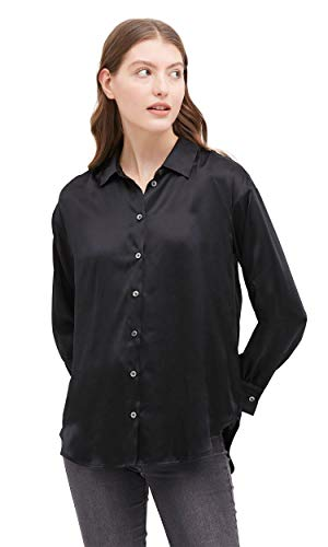 LilySilk Damen Seidenbluse Damenhemd Sommerbluse Langarm Bluse Hemdbluse aus Seide Verpackung MEHRWEG Schwarz XS