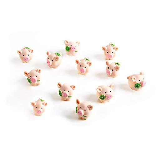 12 kleine rosa-rote KUGELRUNDE Glücksschweinchen Kleeblatt 2 cm Mini Schweinchen Glücksbringer Streudeko Tischdeko Silvester Geburtstag Hochzeit