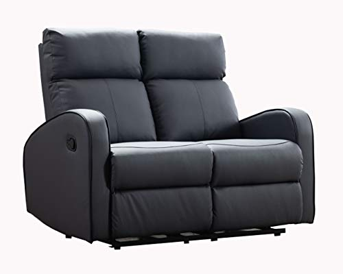 Furnituremaxi Boston Grey Leather 2 Seater Recliner Sofa