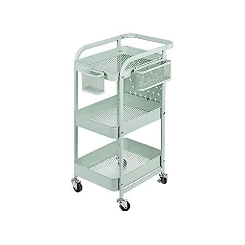 XTZJ Carro de almacenamiento, carrito de 3 niveles, carro de utilidad Estantería de metal con ganchos de tablero de clavija Maneja Ruedas de bloqueo, Rack de almacenamiento móvil for baño, cocina, ofi