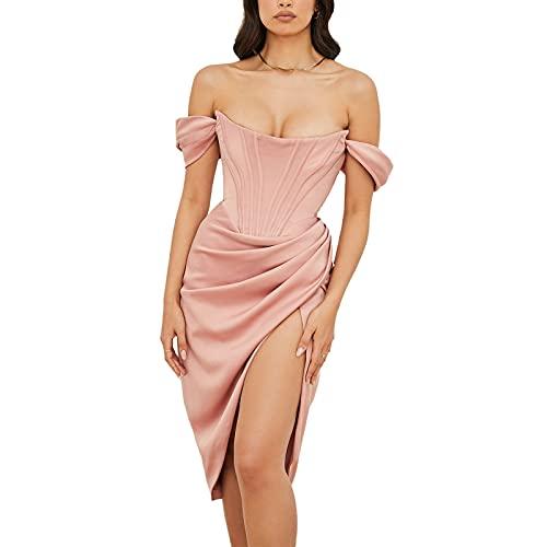 Vestido de corsé para mujer, formal de boda, invitado, cóctel, bodycon, vestido largo de verano, otoño, plisado, rosa, XL