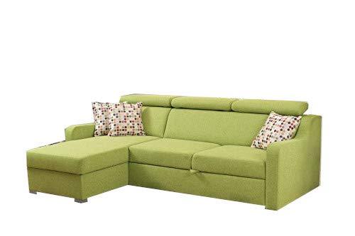 mb-moebel Kleines Ecksofa Eckcouch mit Bettkästen mit Schlaffunktion Couch Wohnlandschaft L-Form Polsterecke Penny (Grün, Ecksofa Links)