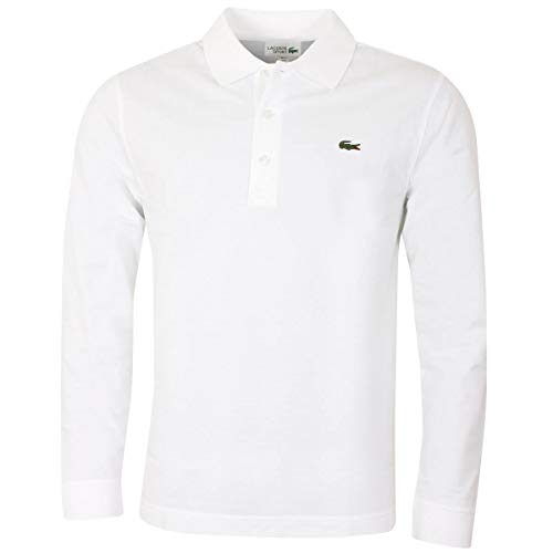 Lacoste Herren Polo-Shirt Langarm L1330, Männer Polo-Hemd, 3-Knopf, Regular Fit,White (001),XXX-Large(8)