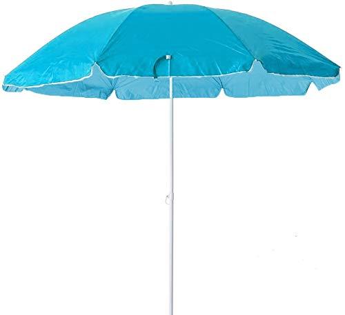 Arcoiris Sombrilla Playa Parasol de Aluminio Protección Solar UPF+50 (180cm, Azul Clara)