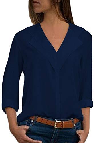 Aleumdr Damen Langarm Bluse Casual einfarbig unika V-Ausschnitt Leichte Dünne Blusen mit Langen Ärmeln Elegant Langarmshirts Blusen Hemd Oberteile,Blau,Large(EU44-EU46)