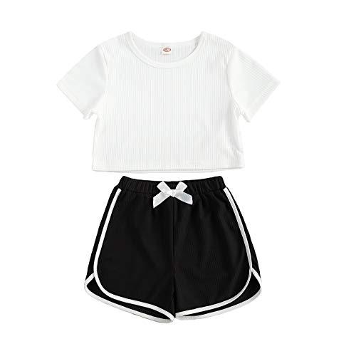 Conjunto deportivo para niña, de verano, 2 piezas, camiseta de manga corta + pantalones cortos anchos para 6 – 11 años blanco y negro 10-11 años