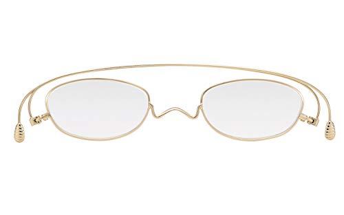 [薄型 老眼鏡 ペーパーグラス]ベーシック「オーバル」ゴールド(+1.00) おしゃれ 携帯用ケース付き 財布に入る老眼鏡 栞(しおり)型リーディンググラス メンズ レディース ギフト 鯖江 1年間保証 001GD100