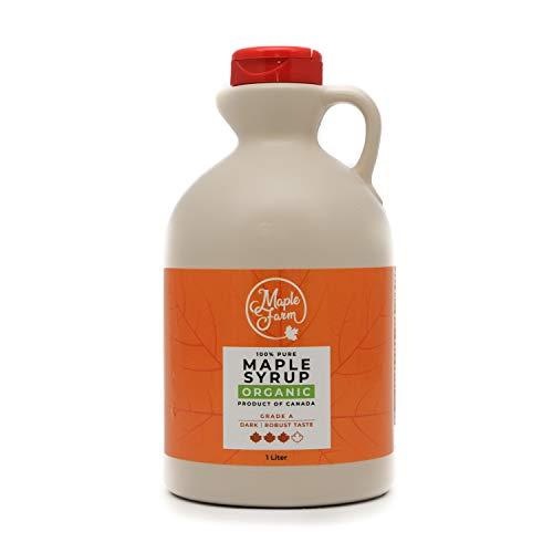MapleFarm - Pur Sirop d'érable BIO Catégorie A, Foncé - goût robuste - 1 litre (1,32 Kg) - Organic maple syrup - Grade A - Dark, robust taste - Sirop d'érable biologique - Pancake sirop