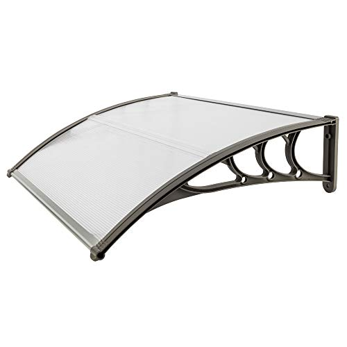 STERXONE Durable Door Awning Window Awnings Exterior Rain and Sun, Best Front Door Awning Polycarbonate Cover Outdoor Patio Canopy Shetter with Aluminum Fixing Bars, ABS Curved Bracket (30 x 40