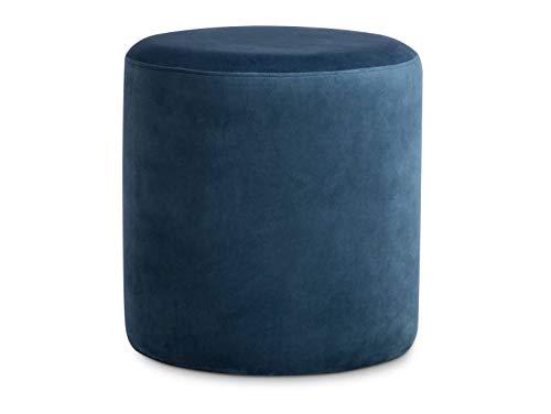 moebel-eins POUFI Hocker rund Pouf Polsterhocker Sitzhocker Sitzwürfel Fußhocker Samt, blau