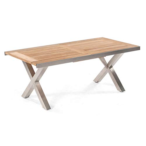 Gartentisch ausziehbar Spectra 190/250x100cm Edelstahl/Teak