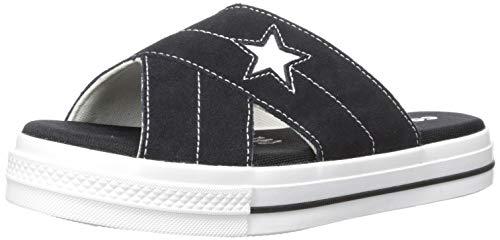 Converse Women's One Star Suede Slip Sandal, Black/Egret/White, 7.5 M US