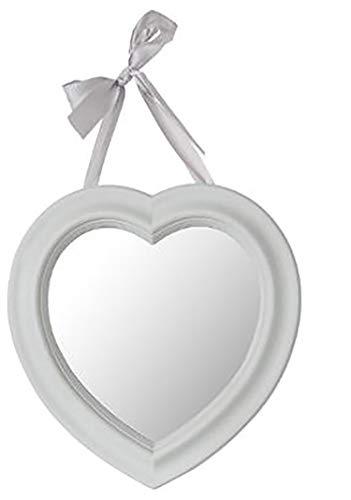 Hogar y Mas Espejo Pared Decorativo Vintage, Corazón con Lazo. Estilo Romántico 27x27,5 cm (Gris Claro)