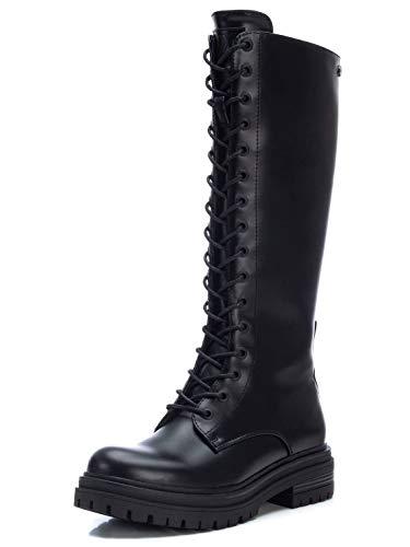 XTI - Bota Plana de Mujer Estilo Militar - Cierre con Cremallera - Negro - 40 EU