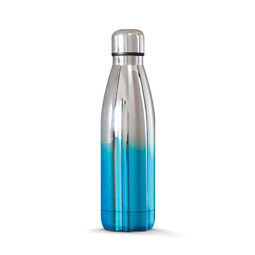 THE STEEL BOTTLE - Bottiglia Termica in Acciaio Inox, Isolamento sottovuoto a Doppia Parete, capacità 500 ml, Chiusura Ermetica, Borraccia Portatile (Blue Silver)