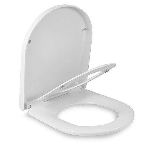 LOMOS Familien WC Sitz D-Shape, Toilettensitz mit integriertem Kindersitz in weiß