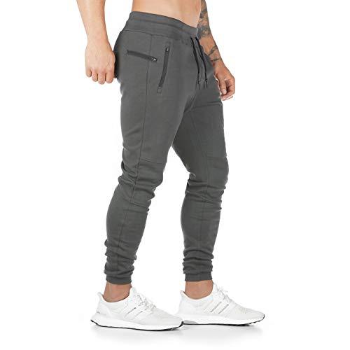 Yageshark Herren Jogginghose Sporthose Baumwolle Fitness Slim Fit Hose Freizeithose Joggers Streetwear(Grau,Large)