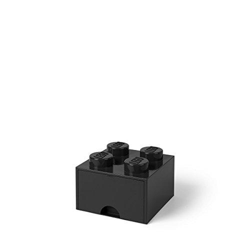 Room Copenhagen 40051733 LEGO Schublade 4 Noppen, 1 Fach, stapelbare Box, 4,7 l, Schwarz, Plastik, 4 knoppen