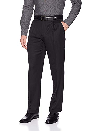 Perry Ellis Men's Classic Fit Elastic Waist Double Pleated Cuffed Pant, BLACK, 36x32