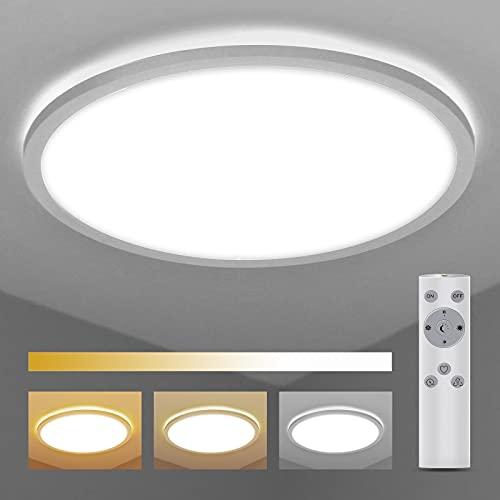 Deckenlampe Dimmbar mit Fernbedienung Ø420×25mm, BIGHOUSE 24W 2200lm LED Deckenleuchte 2700K-6500K, IP44 Wasserfest für Badezimmer, Wohnzimmer, Balkon, Flur Küche