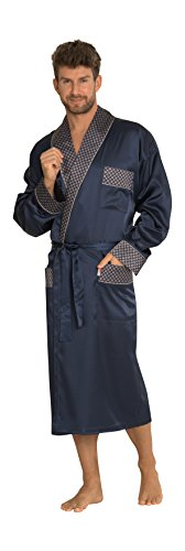 Herren Klassisch Glatter Satin Entspannter Tragen Morgenmantel Lange Bequeme Robe