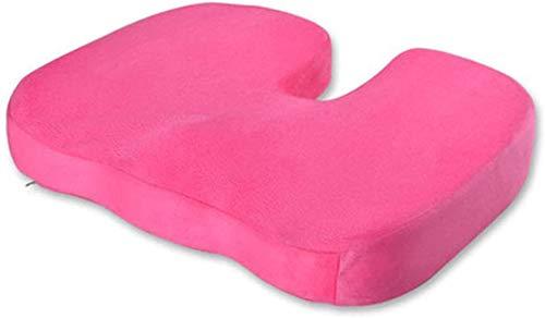 Linderung von Reise Memory Foam orthopädische Kissen, Taille Rückenschmerzen und Ischias schmerzhaftes Kissen - geeignet für Bürostuhlsitz, Autositz, Rollstuhl,Pink