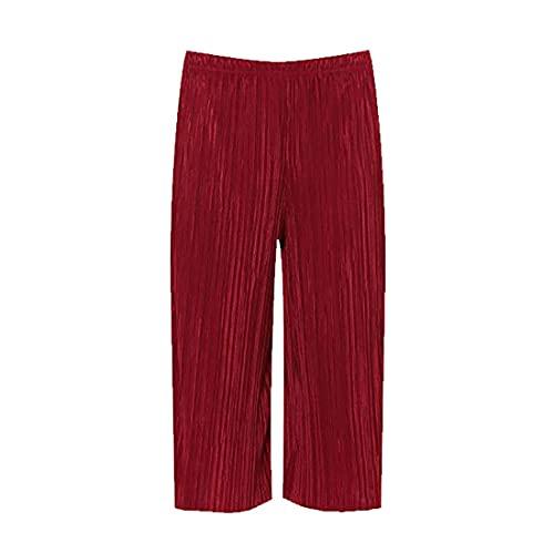 FAIRY TRENDZ LTD Pantalones cortos elásticos para mujer con cintura elástica y cintura elástica, para mujer, Vino, 44-46
