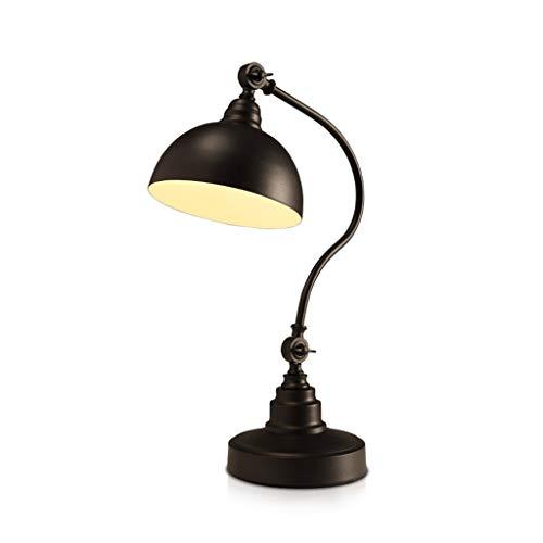 Tafellamp van ijzer, decoratie voor slaapkamer, nachtkastje, decoratie, retro-verlichting, knopenschakelaar, zwart, hoge creativiteit, Scandinavisch, 46 cm