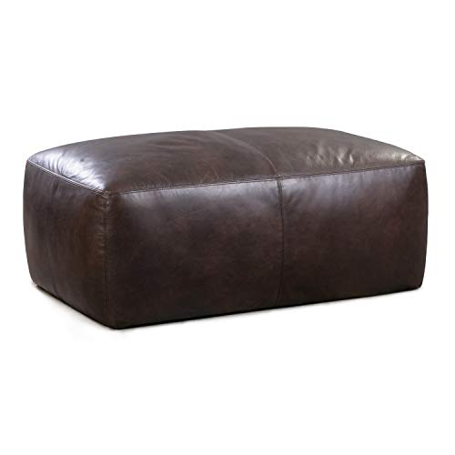 Poly and Bark Denver Modern Leather Ottoman Pouf (Cognac Tan)