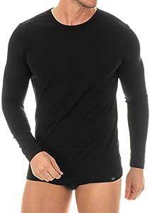 Camiseta Interior de Hombre de Manga Larga - ZD Zero Defectes - Algodón Egipcio - Color Negro(TallaL/XL)