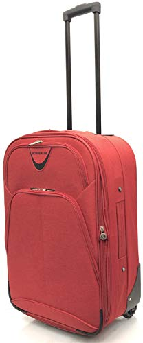 EasyJet, BA, Jet 2, Super Lightweight Expandable Cabin Approved Trolley 2 Wheeled Luggage Bag, FITS Within 56 x 45 x 25cm (21' EasyJet, Red)