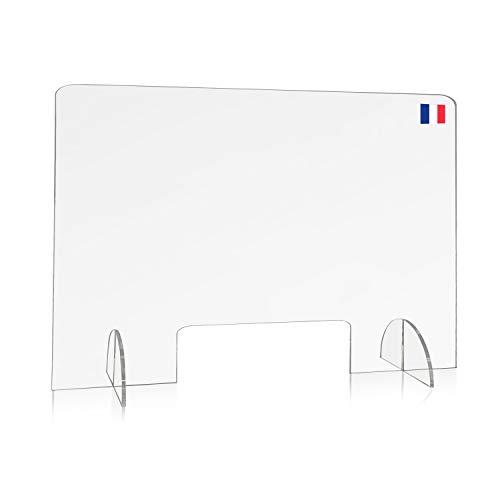 Plaque plexiglass transparent pour protection comptoir, bureau, accueil, caisse ou réception, 5mm, écran élégant, solide, et très STABLE L80 H60 avec ouverture | Cloison | Vitrine | Vitre | Séparateur