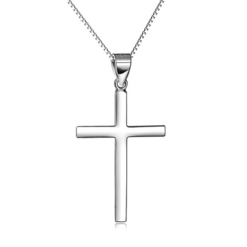 YAFEINI Sterling Silver Simple Cross Necklace High Polished White Gold Plated Religious Cross Jewellery for Women Girls Boys, 18'' (Silver Cross Necklace 20')