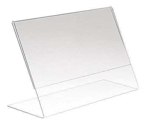 AdirOffice Slant-Back Photo-Sign Holder Ad Frame – Side Insert – Clear Acrylic (24 Pack, 6x4 Landscape)