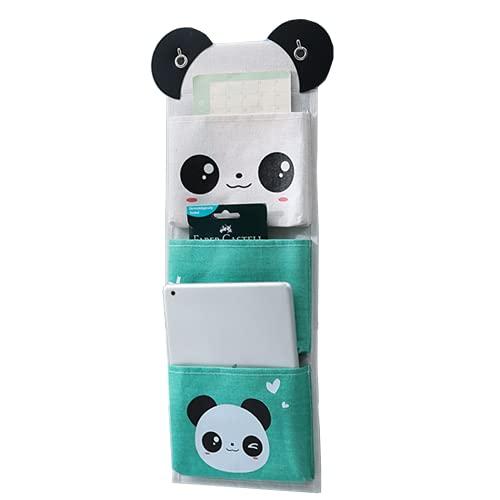 Digead Bolso Colgante Organizador, 3 Bolsillos Organizador de Tela para Colgar Baño,Organizador Taquilla,Organizador Colgante Puerta Baño,Adecuado para la Cocina, el Baño, la Oficina-Panda