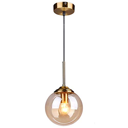 LFsem Industrial Lampara techo retro Bola de Vidrio Lámpara colgante Accesorio de latón lamparas de techo para sala de estar Comedor Dormitorio Cocina Bar (Soltero, ámbar)