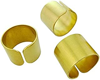 10pcs 19mm Round Wide Tube Rings Blanks Bases Raw Brass Embossed Sculpturing Minimal Custom Makers Gold Tone Lead Nickel Free
