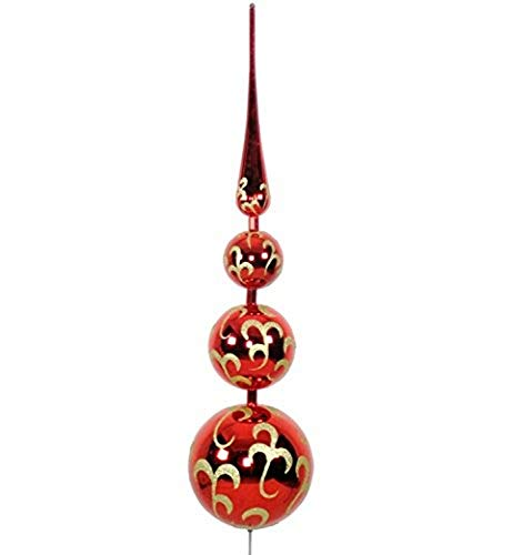 Queens of Christmas WL-TOPPER-70-RE/GO Finial Tree Topper Christmas Decor, 5.5'