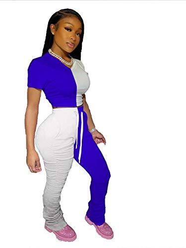 Hbche Vrouwen joggingbroek High Waist Skinny Broek van het Potlood dames Streetwear Color Block Elastic Stacked Casual Joggers Sweat Broek (2 stuks) (Color : Blue, Size : XL)