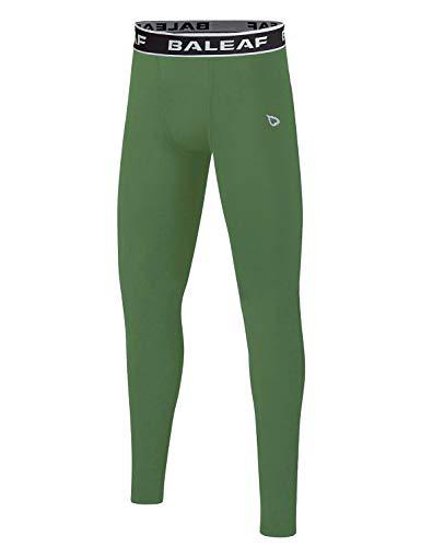 BALEAF Youth Boys' Compression Pants Base Layer Leggings Running Basketball Baseball Soccer Tights Army Green Size S