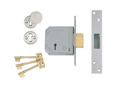 Union Locks 3G114E 5-Lever Mortice Deadlock C-Series 80mm Case - Satin Chrome