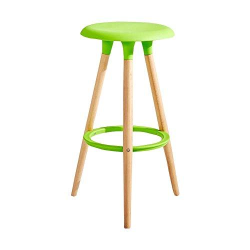 Llslls Barhocker/Startseite Massivholz Hocker/Barhocker Küchenarbeitsplatte/PP Material Kissen/bunt (Color : Green)