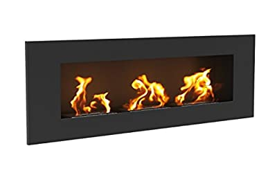 Bio Ethanol Fireplace Delta 3 Matte Black with Protective Glass 120x40cm