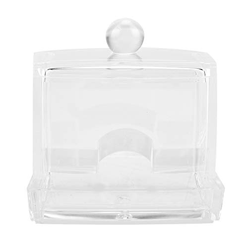 Dispensador de hisopos de algodón - Acrílico Transparente Dispensador de hisopos de algodón Soporte de caja de almacenamiento Estuche de maquillaje cosmético de escritorio