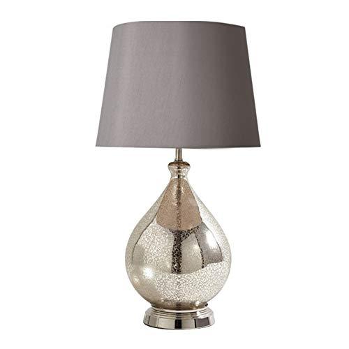 Tablelamp-SZQ Lámpara De Mesa De Cristal, Lámpara De Mesa De Sala De Estar Blanca/Gris Lámpara De Tela Fácil De Limpiar Lámpara De Mesa, 32 * 32 * 58cm(Size:32 * 32 * 58CM,Color:A)