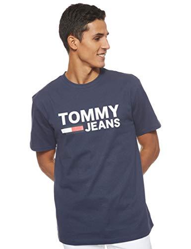 Tommy Hilfiger TJM Tommy Classics Logo tee Camisa, Azul (Black Iris 002), Medium para Hombre