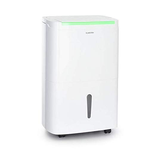 KLARSTEIN DryFy Connect - Deumidificatore, Interfaccia WiFi, Serbatoio da 7 L, Target Umidità Programmabile, Timer, Silenzioso, 360 m³/h, Assorbimento 50 L/24H, Bianco