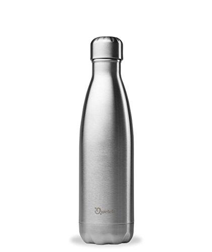 QWETCH - Bouteille Isotherme INOX 500ml - Maintient Vos Boissons au Chaud Pendant 12 Heures & au Frais Pendant 24 Heures – BPA Free - INOX brossé