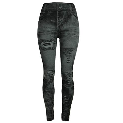 Zarupeng dames imitatie denim leggings potlood-broeken sport fitness joggingbroek gekleurde hip-up slanke jeanbroek used look