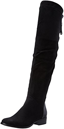 Angkorly - Chaussure Mode Cuissarde Botte Cavalier bi-matière Femme Peau de Serpent Fermeture Zip Strass Diamant Talon Bloc 3.5 CM - Noir - H180 T 36